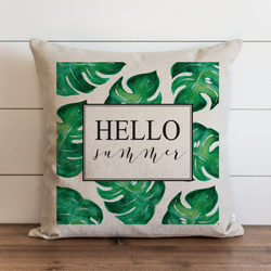Hello Summer_Palms Pillow Cover. - Porter Lane Home