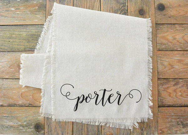 Scroll Last Name Table Runner_table setting, tableware, place setting, housewarming, dinner, event, wedding, anniversary, birthday - Porter Lane Home