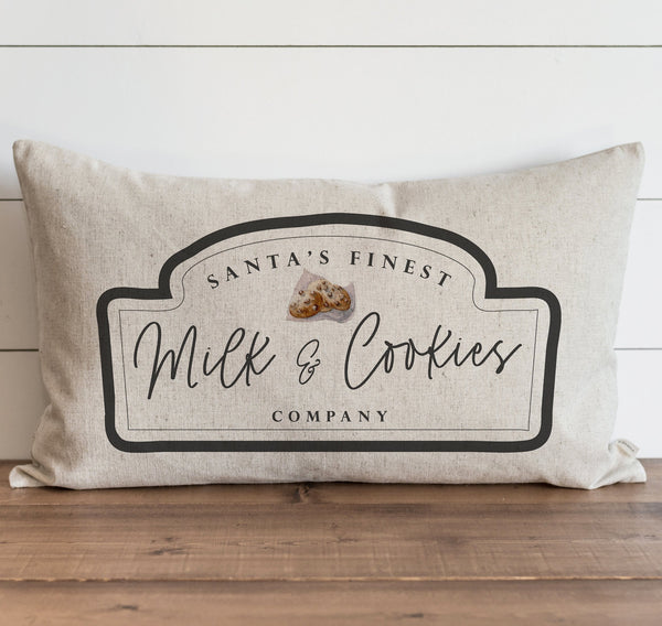 Santa's Finest Milk & Cookie Co. Pillow Cover. - Porter Lane Home