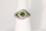 14K Round Green Diamond Ring