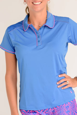 Pitch and Putt Short Sleeve Polo with Mesh Back Medium Blue with Hot Pink Piping Front View