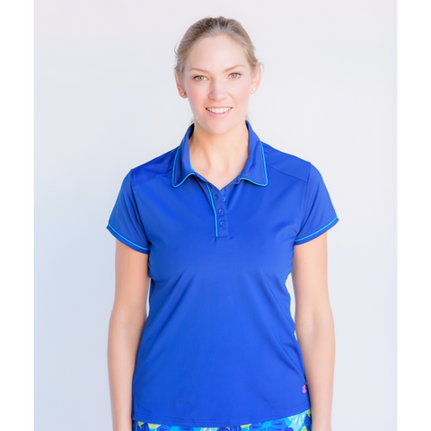 Pitch and Putt Polo- Navy and Turquoise