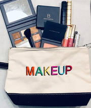 Embroidered Monogram Canvas Makeup Bag Beautycounter