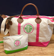 Embroidered Monogram Canvas Makeup Bag and Weekender Duffel