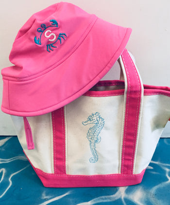 Embroidered Monogram Baby Swim Bucket Hat UPF50+ Small Boat Tote