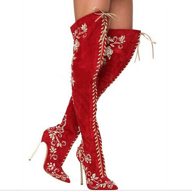 Toe Rhinestone Pointed Knee Girls High Woman The Boots Long Up Women Embroidery Over Sestito Female Heels Shoes Lace thCsQxrBd