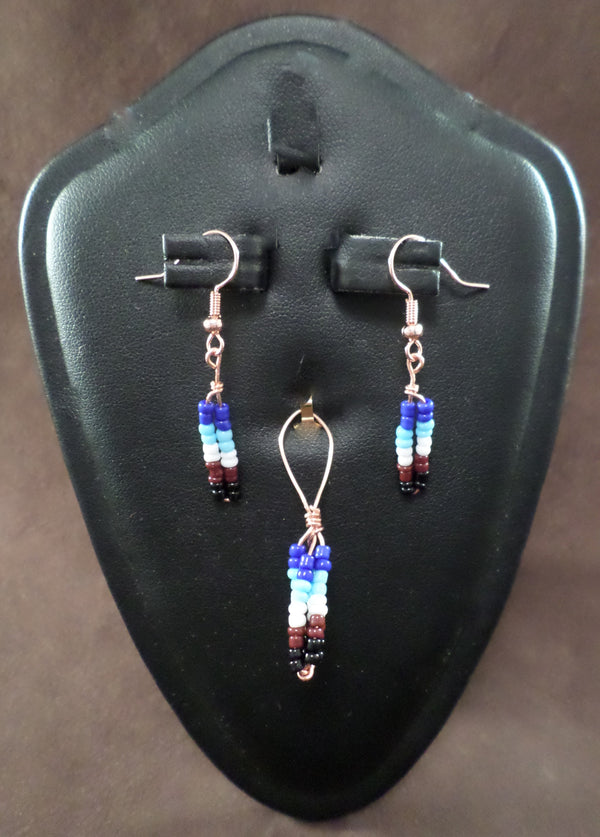 Beaded Earring and Pendant Set