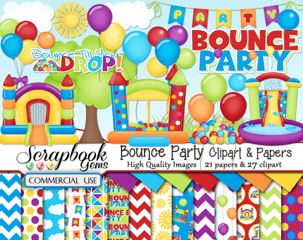 BOUNCE PARTY Clipart & Papers