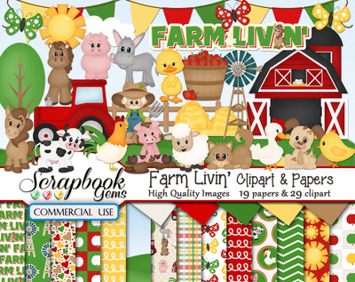 FARM LIVIN' Clipart & Papers
