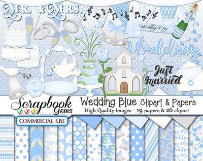 WEDDING BLUE Clipart and Papers