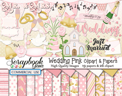 WEDDING PINK Clipart and Papers