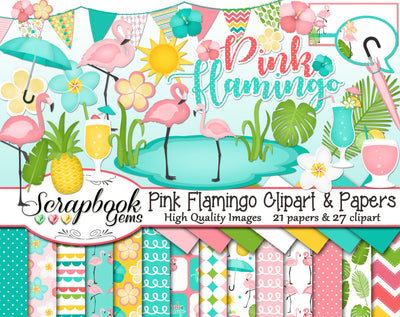 PINK FLAMINGO Clipart and Papers
