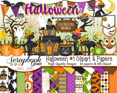 HALLOWEEN, Set #1 Clipart and Papers