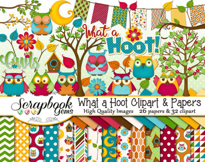 WHAT A HOOT OWL Clipart and Papers