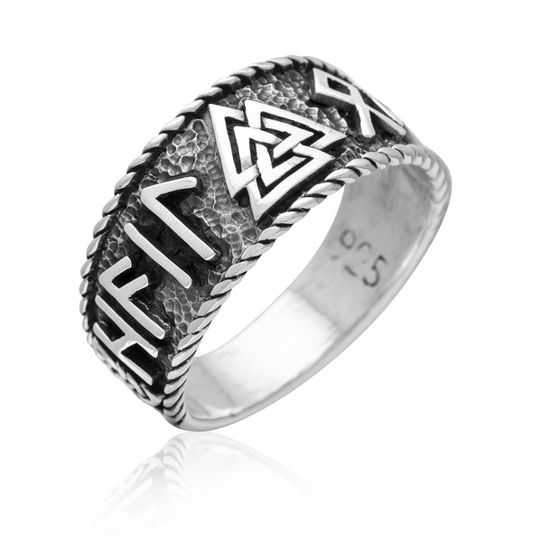 Hail Odin Valknut Ring - Sterling Silver