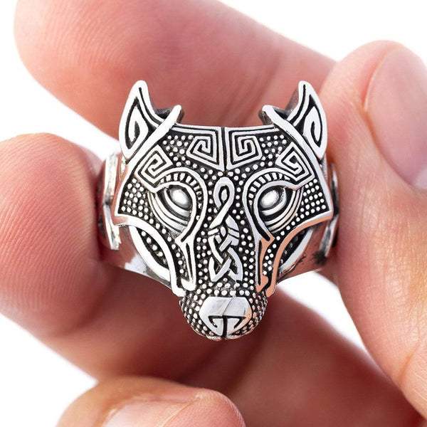 Wolf Head Ring - Sterling Silver