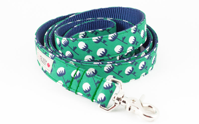 Organic Green Floral Dog Leash