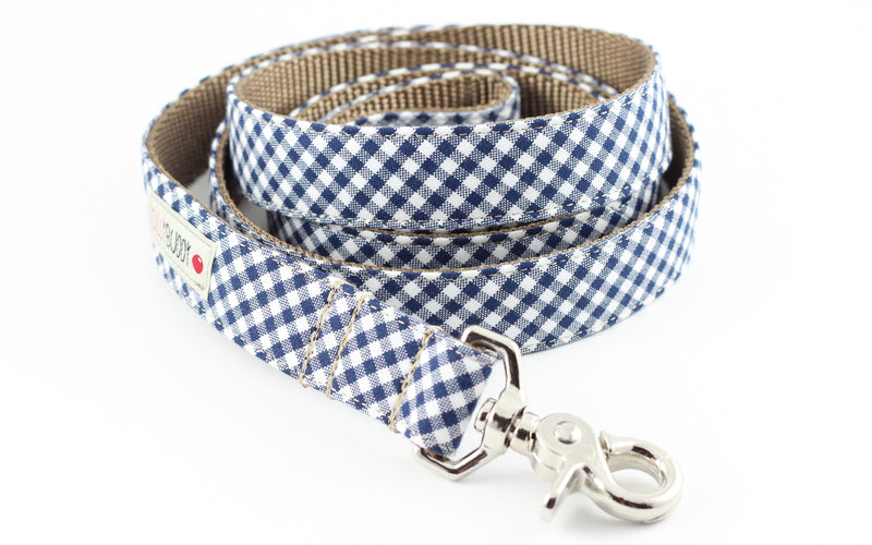 Navy Gingham Dog Leash