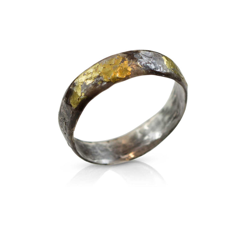 Nancy Troske Jewelry - 24K Gold and Silver Ring, black silver and fused gold