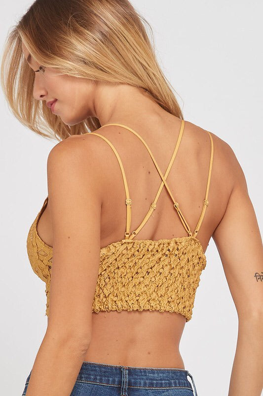 Double Strap Scalloped Lace Bralette - Mustard