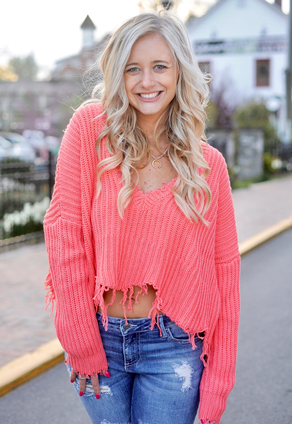 Coral Distressed Cropped Sweater