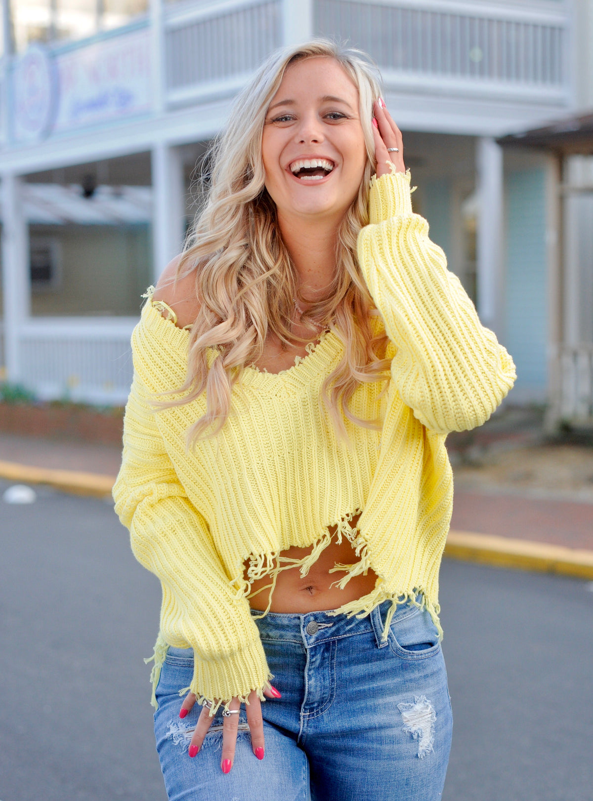 Yellow Distressed Cropped Sweater