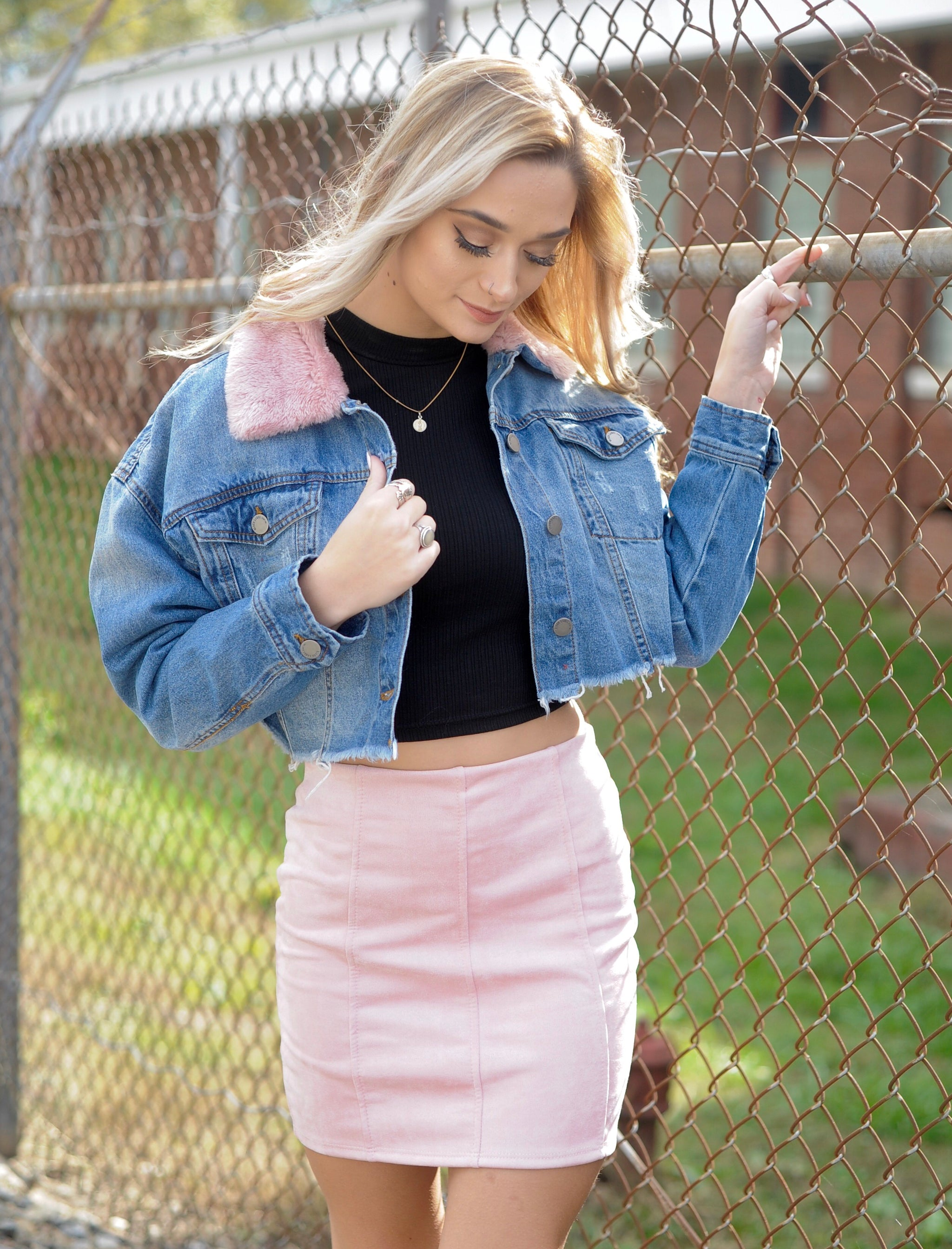 Blush Fur Cropped Denim Jacket