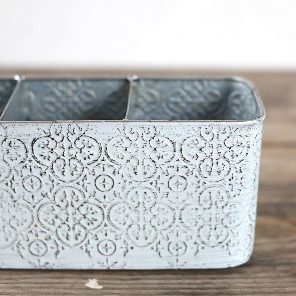 Shabby Chic Storage - Painted Metal Collection - 3 Section Desk Organizer