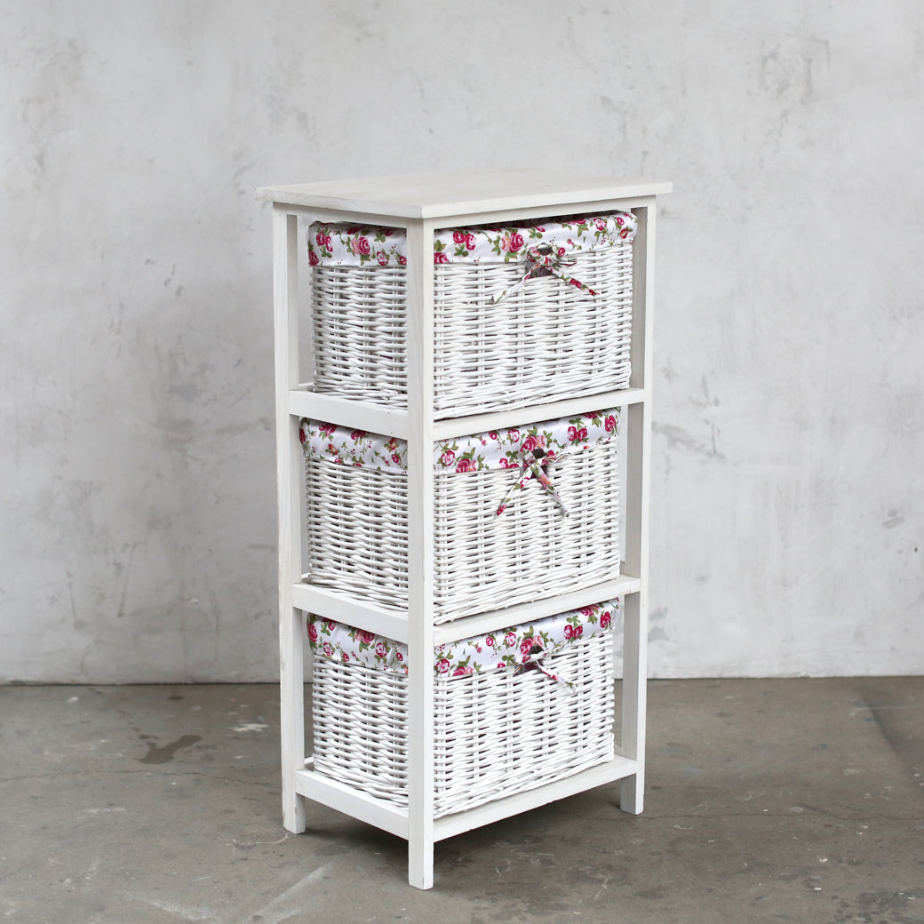 Shabby Chic Storage - White Painted Wood Cabinet