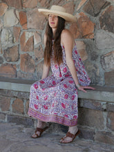 Summer Maxi Dress in Pink Floral with Border