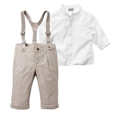 Beige Boys Suspenders Outfit