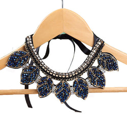 Blue Crystal Leaves Statement Necklace - Pretty Little Owls