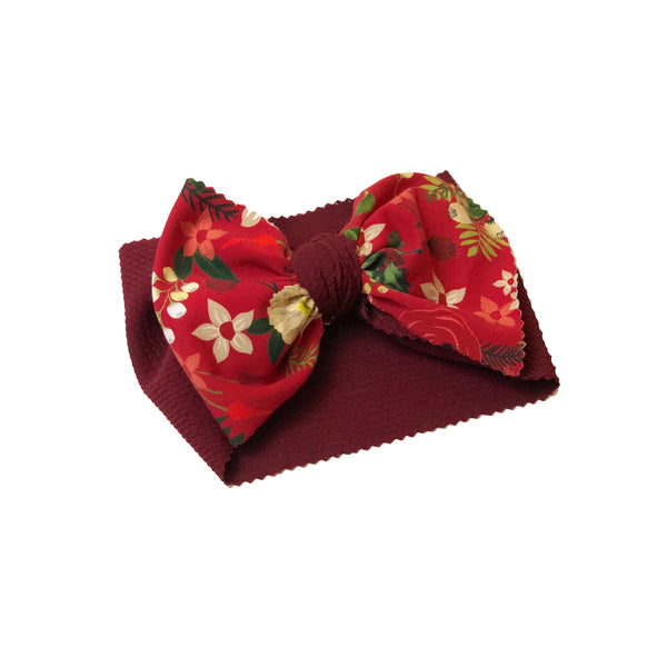 Red Floral Two Tone Head Wrap