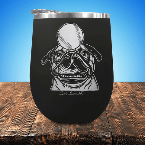Baseball Pug Stemless Wine Cup