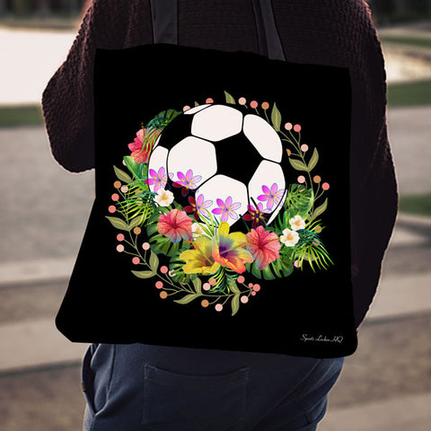 Soccer Fall Flowers Linen Tote Bag EV72