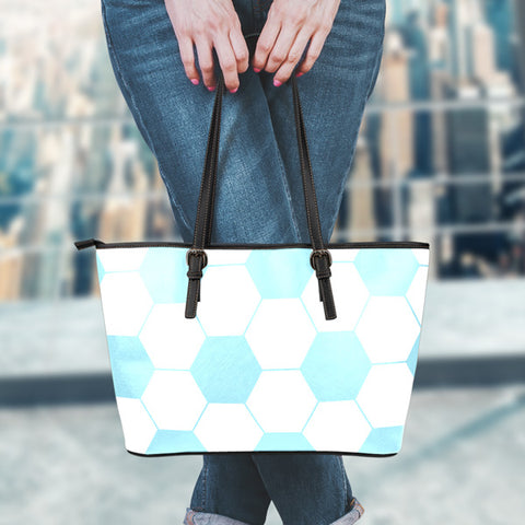 Soccer Light Blue Leather Handbag