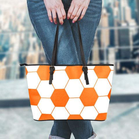 Soccer Orange Leather Handbag