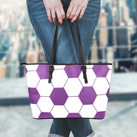 Soccer Purple Leather Handbag