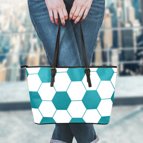 Soccer Teal Leather Handbag