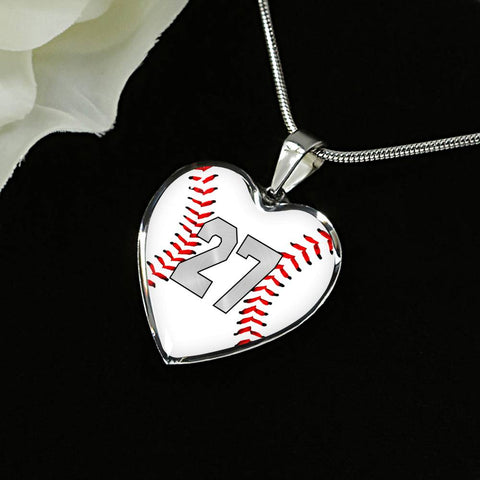 Baseball #27 (Original) Exclusive Heart Pendant Necklace