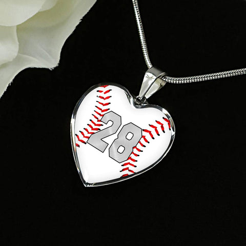 Baseball #28 (Original) Exclusive Heart Pendant Necklace