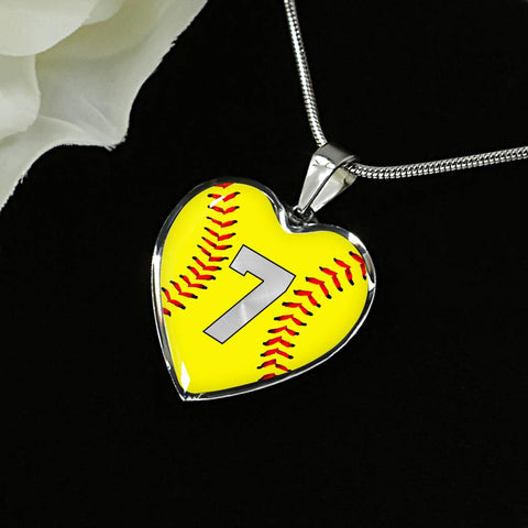 Softball #7 (Original) Exclusive Heart Pendant Necklace