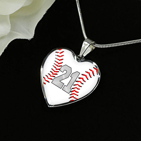 Baseball #21 (Original) Exclusive Heart Pendant Necklace