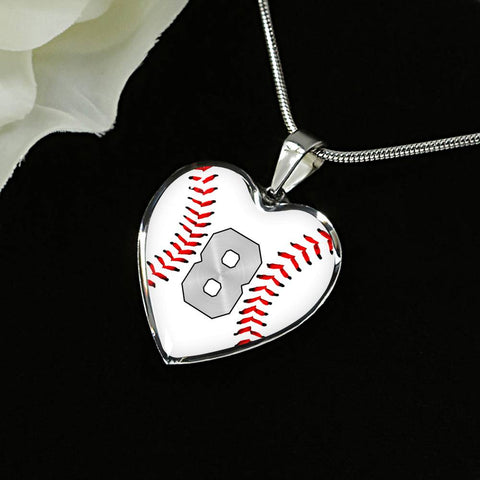 Baseball #8 (Original) Exclusive Heart Pendant Necklace