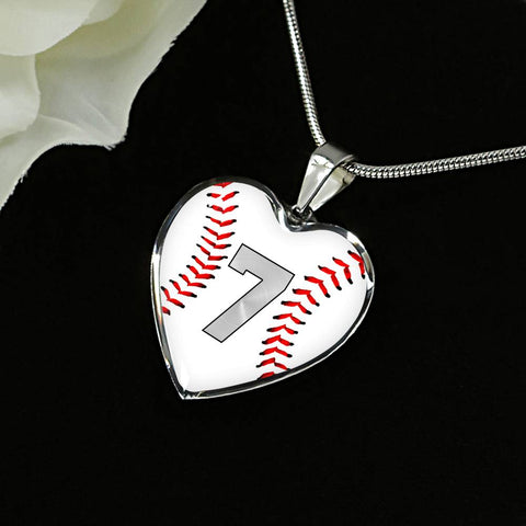 Baseball #7 (Original) Exclusive Heart Pendant Necklace