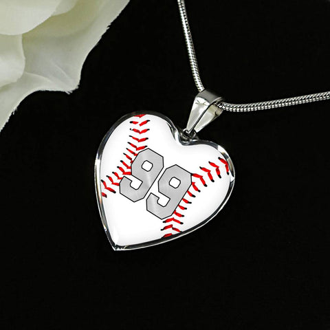Baseball #99 (Original) Exclusive Heart Pendant Necklace