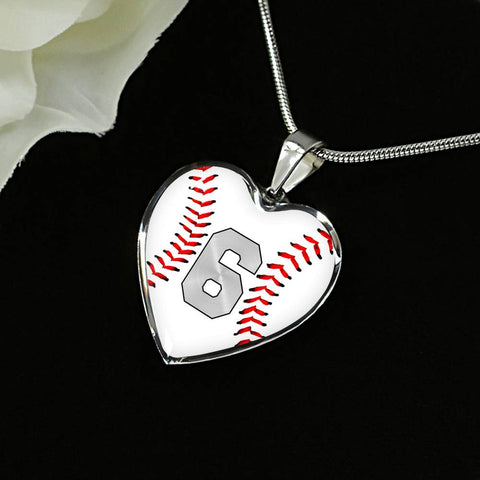 Baseball #6 (Original) Exclusive Heart Pendant Necklace