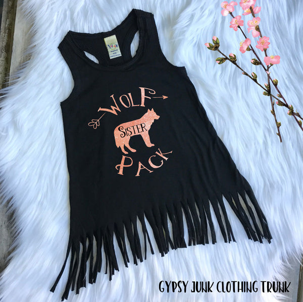 Wolf Pack Sister Rose Gold Fringed Baby Dress - Gypsy Junk Clothing Trunk