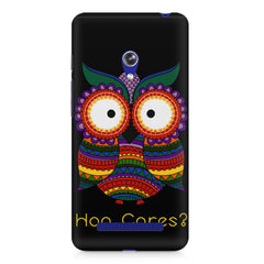 Owl funny illustration Hoo Cares Asus Zenfone 5 printed back cover