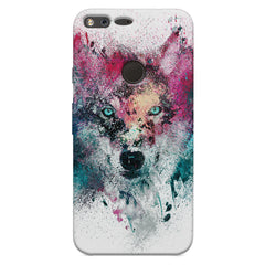Splashed colours Wolf Design Google Pixel XL hard plastic printed back cover